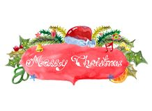 水彩美丽的圣诞卡 免版税库存照片