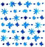 水彩美好的蓝色雪花背景 免版税库存照片