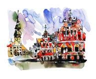 水彩老镇里加拉脱维亚顶视图城市剪影绘画  库存照片