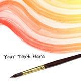 水彩背景。五颜六色的黄色桃红色抽象水彩和艺术家刷子 库存照片