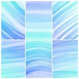 水彩背景。套五颜六色的蓝色抽象水彩 库存图片