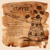 水彩背景的咖啡铜土耳其人 免版税库存照片