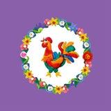 彩色塑泥与花卉框架的雄鸡画象 免版税库存照片