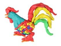 彩色塑泥公鸡 库存图片