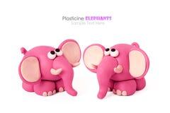 彩色塑泥大象夫妇 库存图片