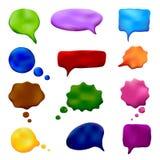 彩色塑泥套多彩多姿的讲话和想法起泡 库存照片