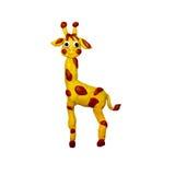 彩色塑泥小在白色隔绝的长颈鹿雕塑 免版税库存照片