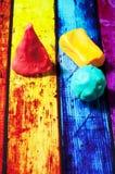 从彩色塑泥的几何形状 库存照片