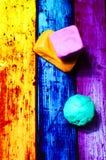 从彩色塑泥的几何形状 免版税库存图片