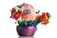 从彩色塑泥的花 免版税库存图片