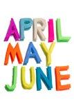 从彩色塑泥的词(4月,可以, 6月) 免版税库存照片