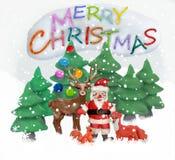 彩色塑泥3D圣诞节贺卡 免版税库存照片