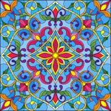 彩色玻璃例证、方形的镜象与花饰和漩涡 向量例证