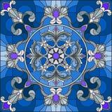 彩色玻璃例证、方形的镜象与银色花饰和漩涡n蓝色背景 免版税库存照片