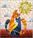 彩色玻璃例证两三只猫坐屋顶反对多云天空和太阳 库存例证