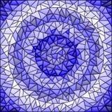 彩色玻璃例证摘要背景,伽玛蓝色,不同的瓦片树荫 向量例证