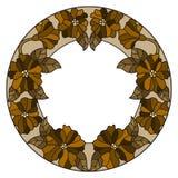 彩色玻璃例证花框架、棕色花和叶子在白色背景 免版税库存照片