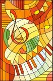 彩色玻璃例证高音谱号的摘要图象在彩色玻璃样式的,在橙黄口气 免版税库存照片