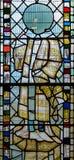 彩色玻璃在圣约翰7的教堂A关闭 库存照片