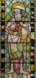 彩色玻璃在圣约翰6的教堂A关闭 库存照片