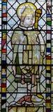 彩色玻璃在圣约翰1的教堂A关闭 库存图片