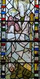 彩色玻璃在圣约翰3的教堂A关闭 库存照片
