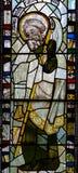 彩色玻璃在圣约翰4的教堂A关闭 免版税图库摄影