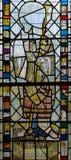 彩色玻璃在圣约翰5的教堂A关闭 图库摄影