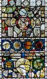 彩色玻璃在圣约翰6的教堂B关闭 库存照片