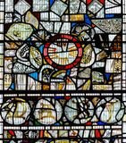 彩色玻璃在圣约翰1的教堂B关闭 免版税库存图片