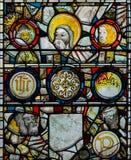 彩色玻璃在圣约翰5的教堂B关闭 图库摄影