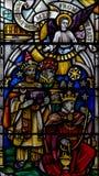 彩色玻璃在埃克塞特大教堂,圣母堂窗口更低的单块玻璃里 库存照片