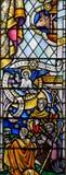 彩色玻璃在埃克塞特大教堂,圣母堂窗口更低的单块玻璃里 免版税图库摄影