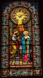 彩色玻璃天使圣灵玛丽修道院蒙特塞拉特岛家牛与野牛的杂种牛 免版税图库摄影