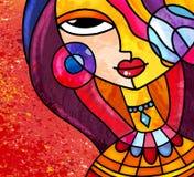 彩色玻璃样式女孩数字式艺术戴着项链和耳环 向量例证