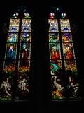 彩色玻璃波兰画家创造的Windows,约瑟夫Mehoffer,在1896和1936年之间,位于圣尼古拉斯大教堂 免版税库存图片