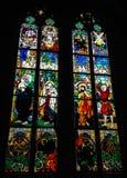 彩色玻璃波兰画家创造的Windows,约瑟夫Mehoffer,在1896和1936年之间,位于圣尼古拉斯大教堂 库存照片