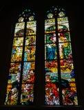 彩色玻璃波兰画家创造的Windows,约瑟夫Mehoffer,在1896和1936年之间,位于圣尼古拉斯大教堂 免版税库存照片