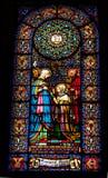 彩色玻璃玛丽伊丽莎白修道院蒙特塞拉特岛卡塔龙尼亚Spai 图库摄影