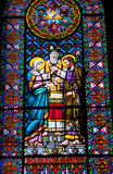 彩色玻璃玛丽约瑟夫婚姻修道院蒙特塞拉特岛 免版税图库摄影