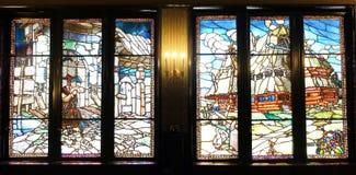 彩色玻璃,劳动人民文化宫,Targu穆列什县 库存图片
