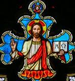 彩色玻璃-耶稣基督-俄梅戛 免版税库存图片