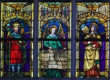 彩色玻璃-阿维拉卡斯提尔和圣特里萨的费迪南德  库存照片