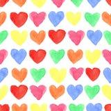 水彩色的心脏无缝的样式 婴孩 库存照片