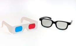 彩色立体图和被对立的3D玻璃 库存图片