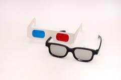 彩色立体图和被对立的3D玻璃 免版税库存图片