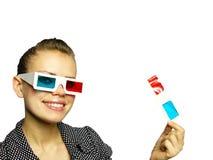 彩色立体图指向微笑妇女 免版税库存照片