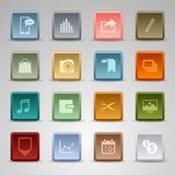 彩色组正方形婚姻按钮模板 库存照片