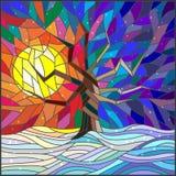 彩色玻璃例证冬天风景、一棵孤立树反对明亮的太阳和雪 库存照片