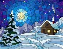 彩色玻璃例证冬天风景、村庄房子和冷杉木在雪背景,满天星斗的天空和月亮 库存照片
